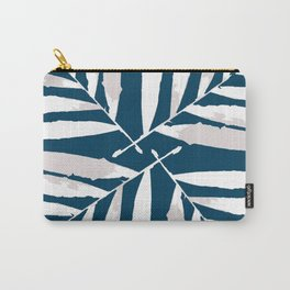 Geometric White on Blue 4 fall tropical pattern Palm leaves, society6 Carry-All Pouch