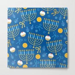 Hanukkah Menorah Pattern Metal Print