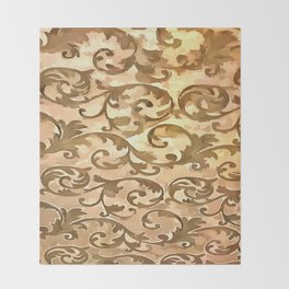 Stylized Foliage Leaves In Gold Throw Blanket