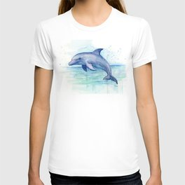 Dolphin Watercolor Sea Creature Animal T-shirt