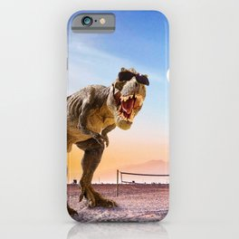 Funny T-Rex Dinosaur Playing Volleyball iPhone Case