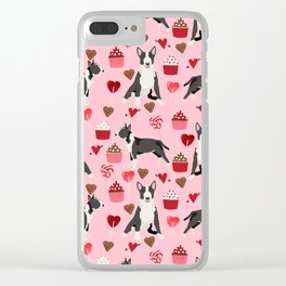 Bull Terrier valentines day love cupcakes hears dog breed pet friendly gifts Clear iPhone Case