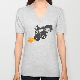 Small Tractor Helping a Big Tractor Unisex V-Neck