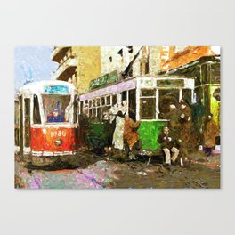 Trams, late 1940 Canvas Print