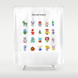Fire Chief Charlie Pixel Characters Shower Curtain
