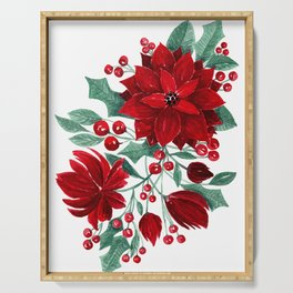 Merry Red Poinsettia Flowers Ivy Leaves Watercolor Serving Tray