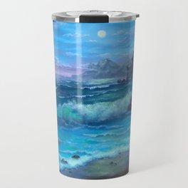 Evening surf, beautiful sunset on the ocean, Travel Mug