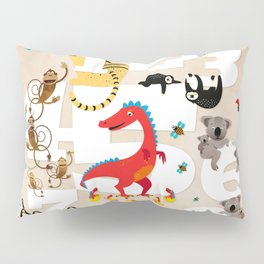 One Two Three Animals in the Kids Room – Illustration for boys and girls Pillow Sham