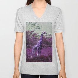 Wild Giraffe in Pink Unisex V-Neck