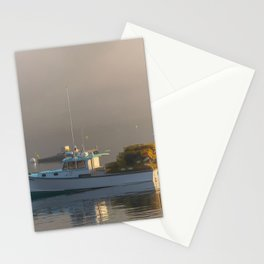 Lobster Boat Maine Fog Print Stationery Cards