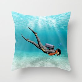 S.C.U.B.A. Diver Throw Pillow