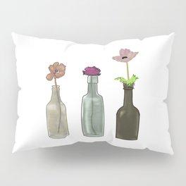 Flowers in Glass Bottles . Pastel Colors Pillow Sham