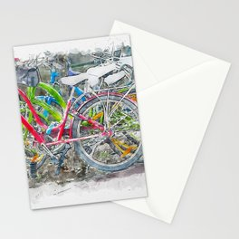 Aquarelle sketch art. Bicycles in Amsterdam Stationery Cards