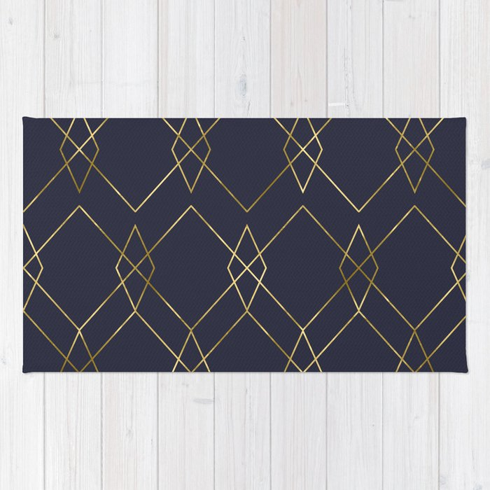 Gold Geometric Navy Blue Rug