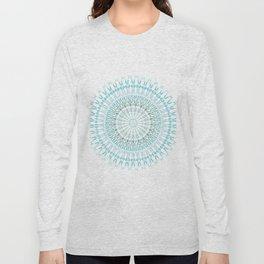 Turquoise White Mandala Long Sleeve T-shirt