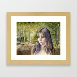 Girl in Woodlands, watercolour painting Framed Art Print