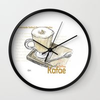 cafe Wall Clocks featuring Cafe by Indraart