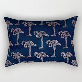 Tropical rose gold geometric flamingo pattern on navy blue watercolor Rectangular Pillow