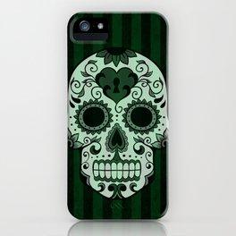 Día de los Muertos in Emerald Green iPhone Case