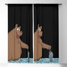 Bear is fishing Blackout Curtain