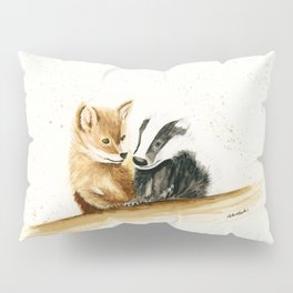 Friends (Fox and Badger) - animal watercolor painting Pillow Sham