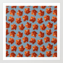 Canadian Maple Syrup Candy Pattern on Grey Blue Art Print