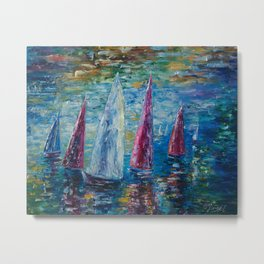 Sails To-Night by Lena Owens Metal Print