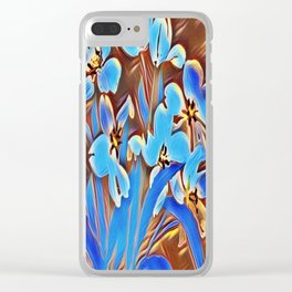 Painted Forget Me Nots Clear iPhone Case