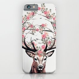 Deer and Flowers iPhone Case