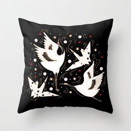 Origami Crane Metamorphosis (Noir) Throw Pillow