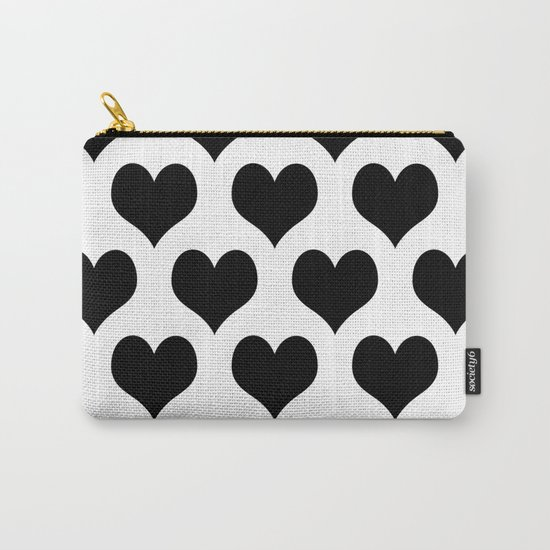 White Black Heart Minimalist Carry-All Pouch