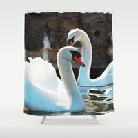 swan Shower Curtains featuring Swan by World Photos by Paola