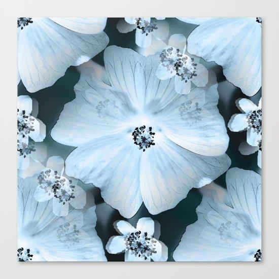 Flower-power - pastel blue flowers on a dark blue background Canvas Print