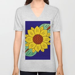 talavera mexican tile with a flower Unisex V-Neck