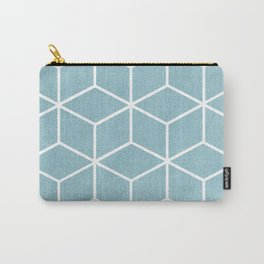 Light Blue and White - Geometric Textured Cube Design Carry-All Pouch