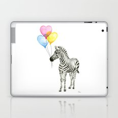 Zebra Watercolor With Heart Shaped Balloons Whimsical Baby Animals Laptop & iPad Skin