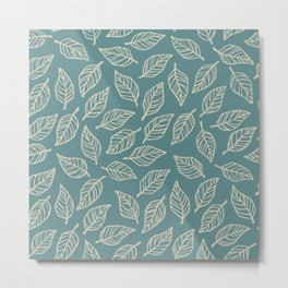 Dark Leaf Pattern - Blue Metal Print