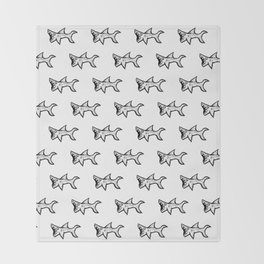 Black and White Sharks Throw Blanket