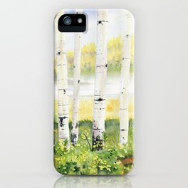 Behind The Birch Trees iPhone Case
