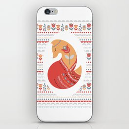 Red Fox on a patterned background in the oval. Folk art. The Scandinavian style. iPhone Skin