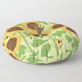 Sunbathing Meadowlarks Floor Pillow