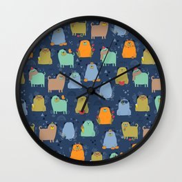 Seasonal pugs. Funny dogs. Wall Clock