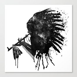 Indian with Headdress Black and White Silhouette Canvas Print