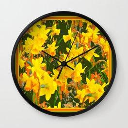 Olive Green Golden Daffodils Garden Abstract Art Wall Clock