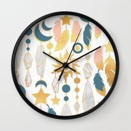 Bohemian spirit IV // white background salmon pink & gold feathers Wall Clock