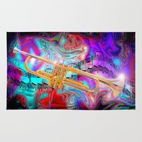 trumpet Area & Throw Rugs featuring Psychedelic Trumpet by JT Digital Art