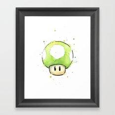 1UP Green Mushroom Painting Mario Gaming Geek Videogame Art Framed Art Print