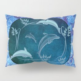 Funny dolphin with flowers Pillow Sham