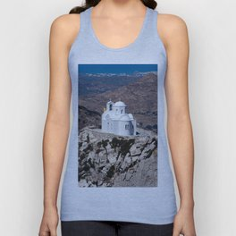 Lonely church in Greek mountains Unisex Tank Top