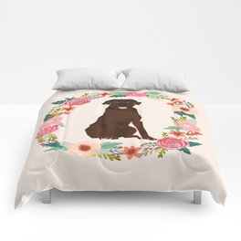 chocolate lab floral wreath flowers dog breed gifts labrador retriever Comforters